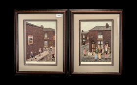 A Pair of Pencil Signed Tom Dodson Prints The Cricket Match and May Queen. Both with blind stamps.