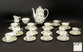 Lovely Hand Painted Bone China Tea/Coffee Set dated 1982 and signed by DM.