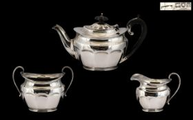 Early 20thC Sterling Silver Bachelors Three Piece Tea Service of fine proportions for the single man