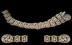 Indian Silver Belt, white metal Indian/Burmese belt, highly decorated with Indian dancers, good