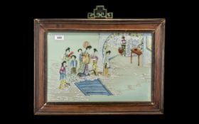 Chinese 20thC Painted Tile Picture depicting maidens in a celestial room setting; unsigned; in