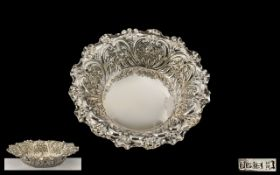 Edwardian Period Excellent Quality Circular Ornate Sterling Silver Dish, hallmarked Sheffield 1901,
