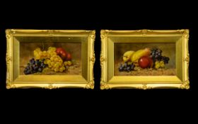 Pair of Oil Paintings on Canvas Laid Down on Board, depicting grapes,