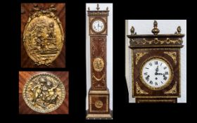 A French Ormolu Mounted and Kingwood Reproduction Grandmother Clock with a white enamel dial, Ormolu