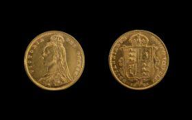 Queen Victoria Shield Back Jubilee Head 22ct Gold Half Sovereign of high grade, EF,