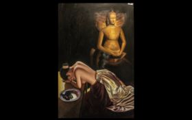Modern Oil on Canvas of a Scantily Clad Oriental Girl praying to a Buddah Deity with offerings.