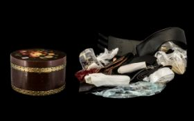 Large Decorative Hat Box Full of Ladies Belts in various widths and textiles, from leather, stretch,