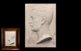 Portrait Plaster Bust of S M Albert, indistinctly artist signed, dated 1915; in a mahogany frame; 17