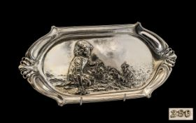 W.M.F Art Nouveau Period Silver Plated Embossed Twin Handle Tray of Wonderful Form, Features