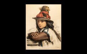 Large Coloured Print 'Etudes Choisies', Lithographies aux deux crayons par Emile Lassalle, Imp.