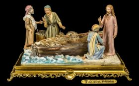 Capo di Monte Large Figural Group 'La Pesca Miracolosa', depicting Jesus with three disciples