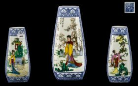 Modern Chinese Art Pottery Vase of Unusual Three Sided Shape with decorative panels of maidens in