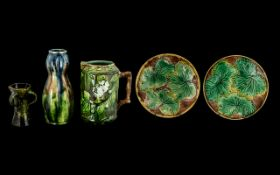 A Collection Antique Majolica to include
