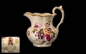 Antique Porcelain Masonic Jug, finely pa