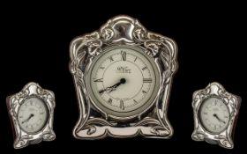 Silver Art Nouveau Style Mantle Clock, w