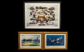 Motor Racing Print & Two Spitfire Prints