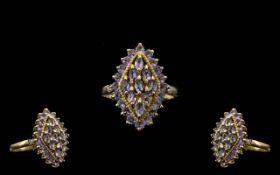 Ladies 9ct Gold Attractive Diamond & Ame