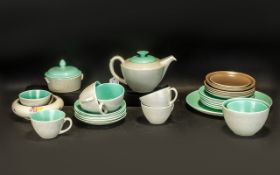 Poole Pottery Hand Made Tea Set in twin-