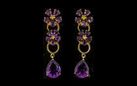 Pair of Amethyst Floral Drop Earrings, p