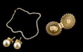 Modern Pearl Necklace With 9ct Gold Clas