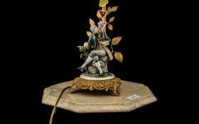 Capodimonte Figural Electric Lamp with S