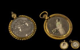 Two Victorian Yellow Metal Lockets, unma