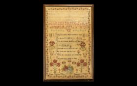 """Georgian Sampler Dated 1805. Measures 27"""" x 18"""", and is framed behind glass."""