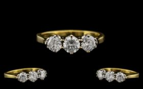 Art Deco Period Stunning Quality and Pleasing 3 Stone Diamond Set Dress Ring. The two round
