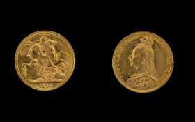 Queen Victoria 22ct Gold Full Sovereign date 1890. Mint Melbourne. High Grade Coin.