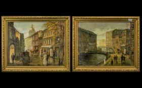 Pair of Oil Paintings on Canvas in Gilt Frames, both depicting Czarist St Petersburg,