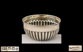 Victorian Period Mappin & Webb Small Sterling Silver Circular Fluted Bowl of pleasing proportions.