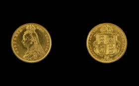 Queen Victoria 22ct Gold Jubilee Head/Shield Back Half Sovereign. Date 1887, London mint.