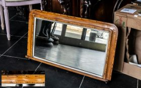 Victorian Inlaid Walnut Overmantel Mirror with dome shaped top frame;