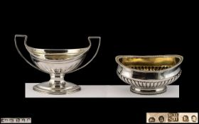 George III - Late 18th Century Twin Handle Salt ( Gilt Interior ) of Pleasing Form and Excellent