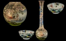 Tall Japanese Pottery Meiji Period Vase decorated to the body with elegant ladies sitting in a boat.