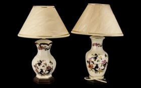 Pair of Mason's Table Lamps complete with cream shades with gold trim.