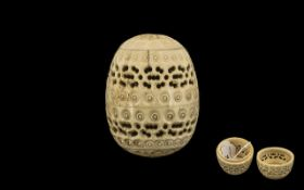 Antique French Carved Bone Screw Lidded Fret-Work Egg Container; c1870s/80s; 2.5 inches (6.