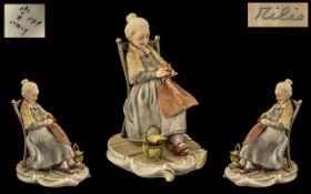Capo-di-Monte Large Signed & Handpainted Figure/Sculpture.