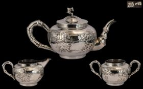 Chinese Export Superb Quality & Impressive Signed 3 Piece Silver Tea Service.