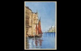 """Watercolour of Venice by A H Dickinson framed and mounted behind glass, measures 18"""" x 13""""."""