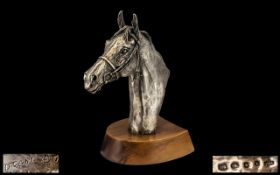 Superb Sterling Silver Sculpture of a Finely Detailed and Realistic Bust of A Horse's Head.