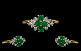 18ct Gold - Attractive Ladies Emerald and Diamond Set Dress Ring - Pleasing Design.