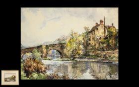 Conrad Hector Rafaele Carelli 1869-1956, Watercolour, Titled 'Ludford Bridge Ludlow'.