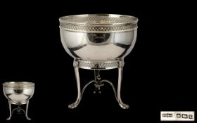 Arts & Crafts Design Superb Quality Sterling Silver Bowl. Open worked borders, raised on a trio of