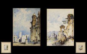 Gabrielle Carelli 1821-1900 Listed Artist Fine Pair of Watercolours Titled 'Ronda Near Cordova' and