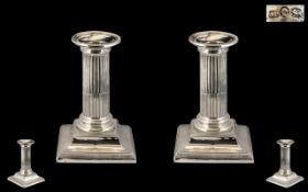 Victorian Period Fine Pair of Silver Corinthian Column Shaped Candlesticks, Detachable Sconces.