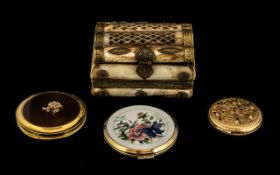 A Bone Trinket Box, Brass Mounted with 3 Ladies Compact Cases. Please See Photo.
