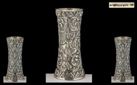 Siam 19th Century Sterling Silver Repousse Small Vase of waisted form.
