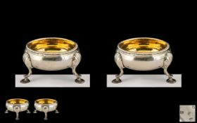 George III - Fine Pair of Silver Salts with Gilt Interior, Supported on Shell Splayed Hoof Feet,