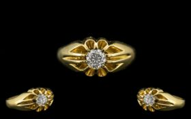 18ct Gold Gypsy Set Single Stone Diamond Dress Ring of Top Grade.